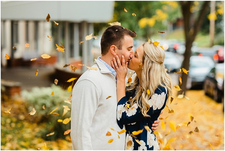 Lake Harriet Fall Engagement Session with Leaves
