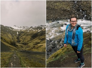 Adventurous Elopement and Wedding Photographer in Iceland hiking to natural hot spring