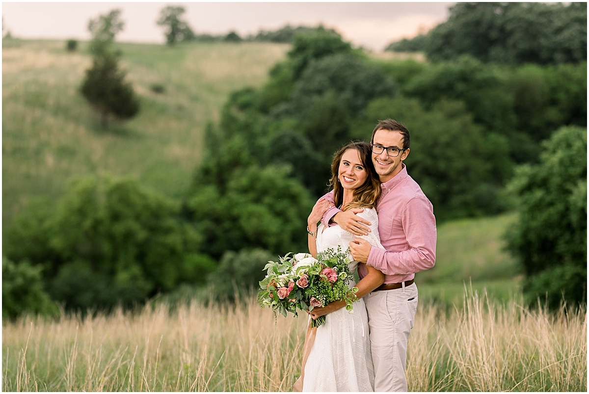 Romantic Hillside Engagement Session Minneapolis Photographer with Kindred Blooms Bouquet