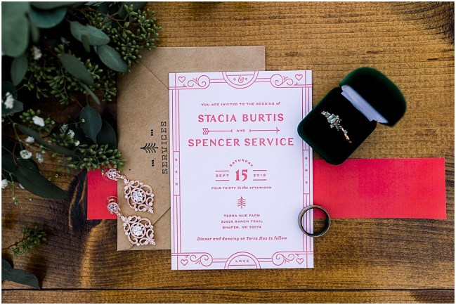 Invitation Suite and details from Terra Nue Farm wedding