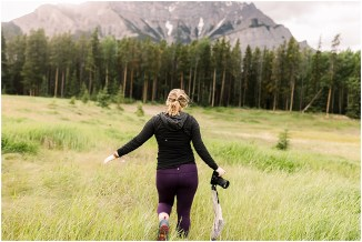 Photographer exploring and adventuring in Banff National Park
