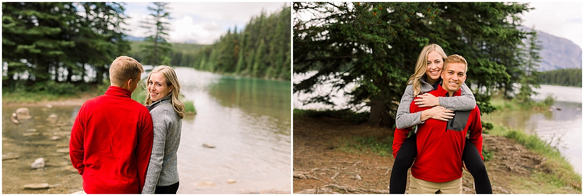 Couple camping and exploring at Two Jack Lake in Banff National Park for their engagement session