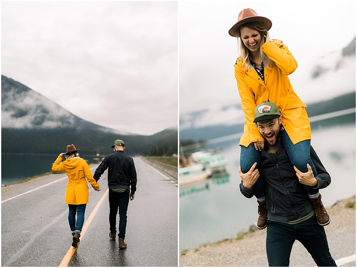 Adventure engagement session at Lake Louise at Banff National Park