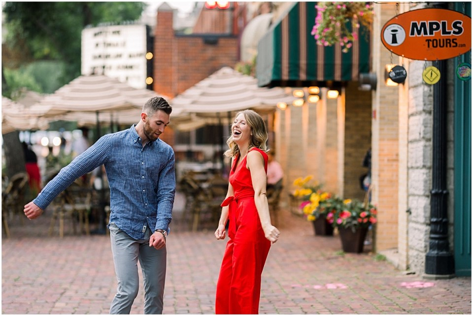 Trendy St Anthony Main Engagement Session in Minneapolis