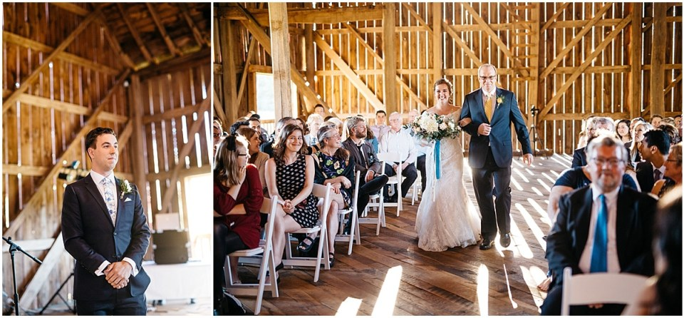 Cameron and Tia Our Wedding Music Chocies Processional at Wedding in Birch Hill Barn