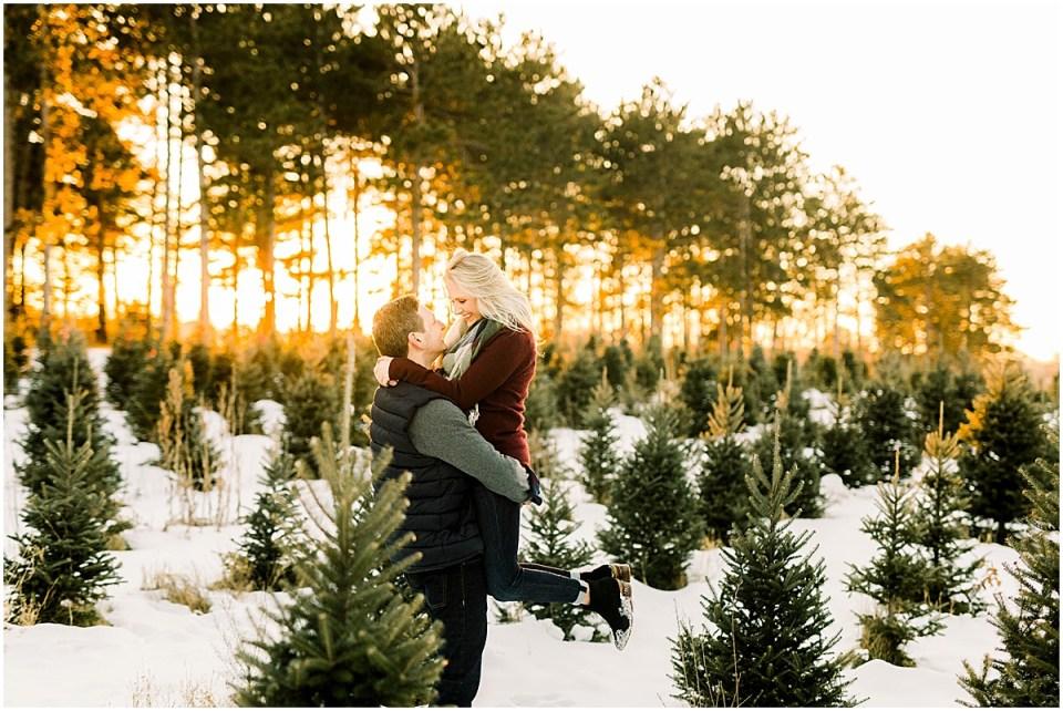 Hansen Tree Farm Winter Snow Engagement Session by Cameron & Tia