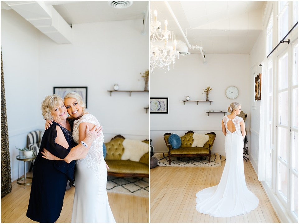 Bride getting ready at The Capitol Room Bridal Suite in The Wedding Shoppe Mori Lee Dress