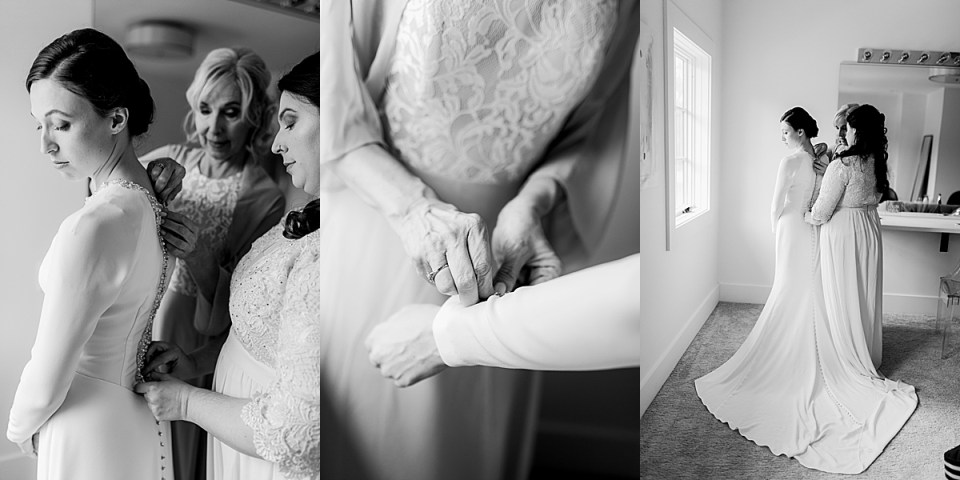 The Hutton House bride getting ready in bridal suite Wedding Dress Practice