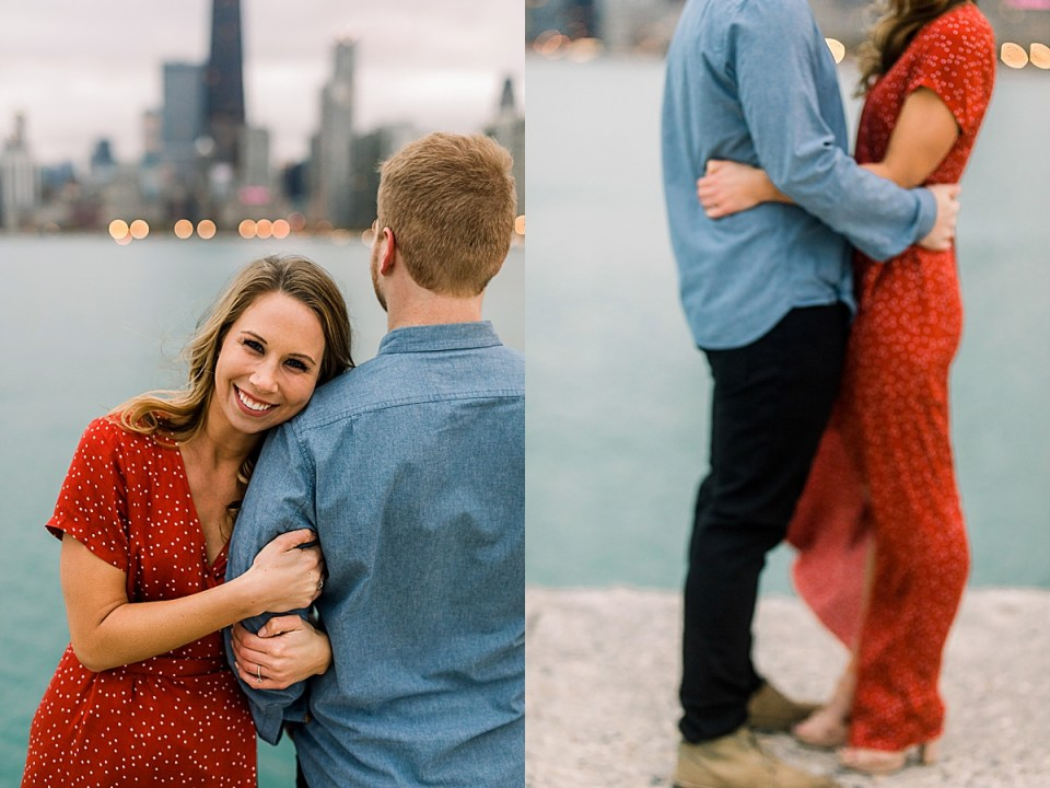 Chicago Engagement Session with stunning red dress