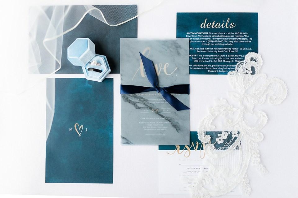 Something blue details for wedding