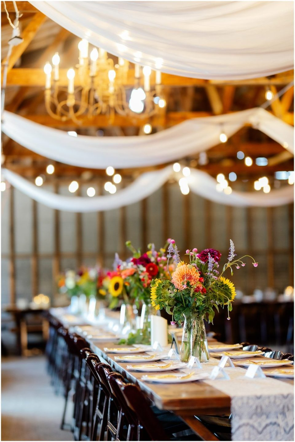 Reception Details in barn at Erickson Farmstead