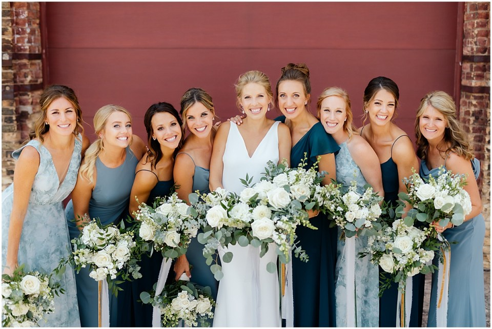 Northern Pacific NP Event Space Wedding in Brainerd with blue bridal party colors