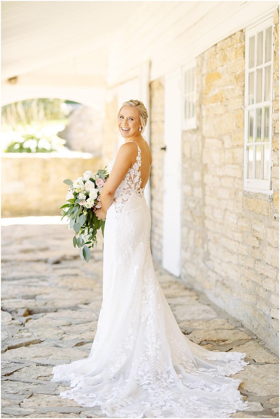Bride's dress at Mayowood Stone Barn, Rochester MN