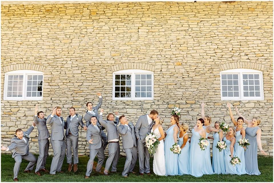 Bridal party photos outside Mayowood Stone Barn