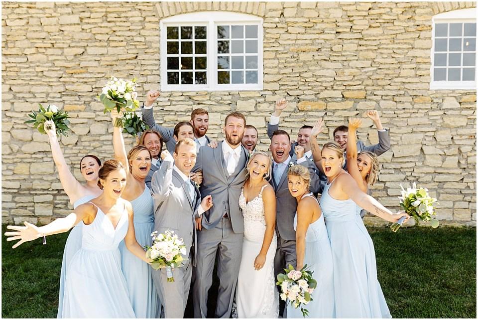 Bridal party at Mayowood Stone Barn, Rochester MN