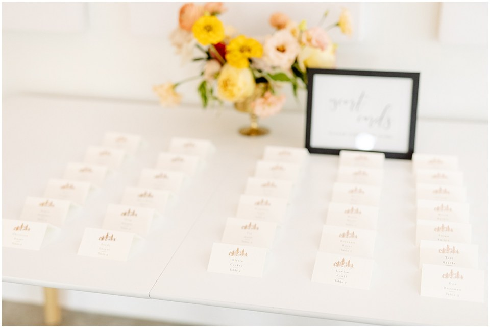 Minted name cards at Pinewood Weddings & Events