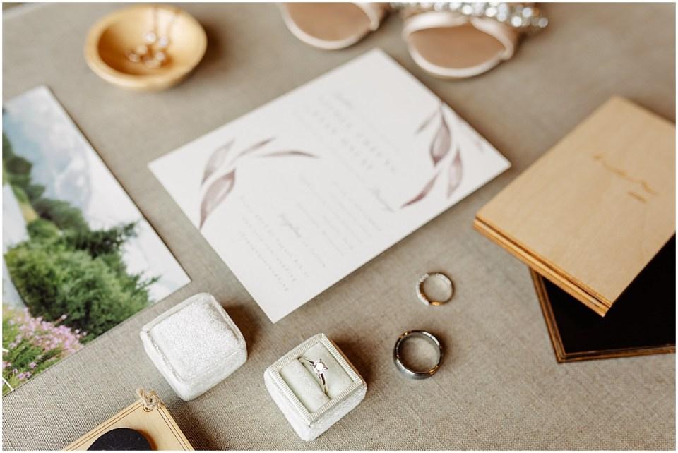 Wedding Invitation flatlay with details at Almquist Farm MN