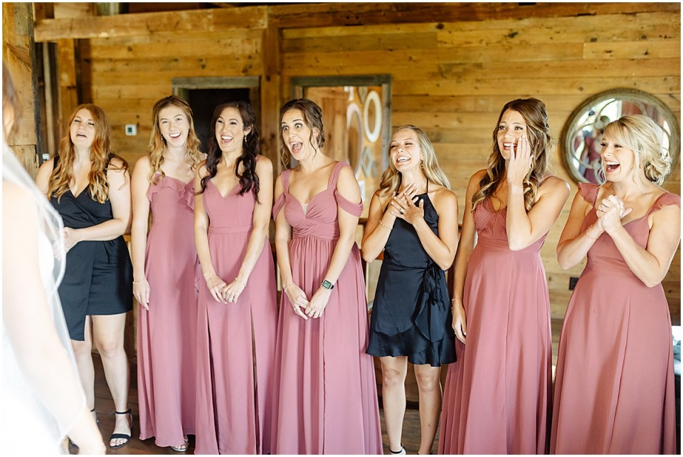 bridal party first look Almquist Farm MN