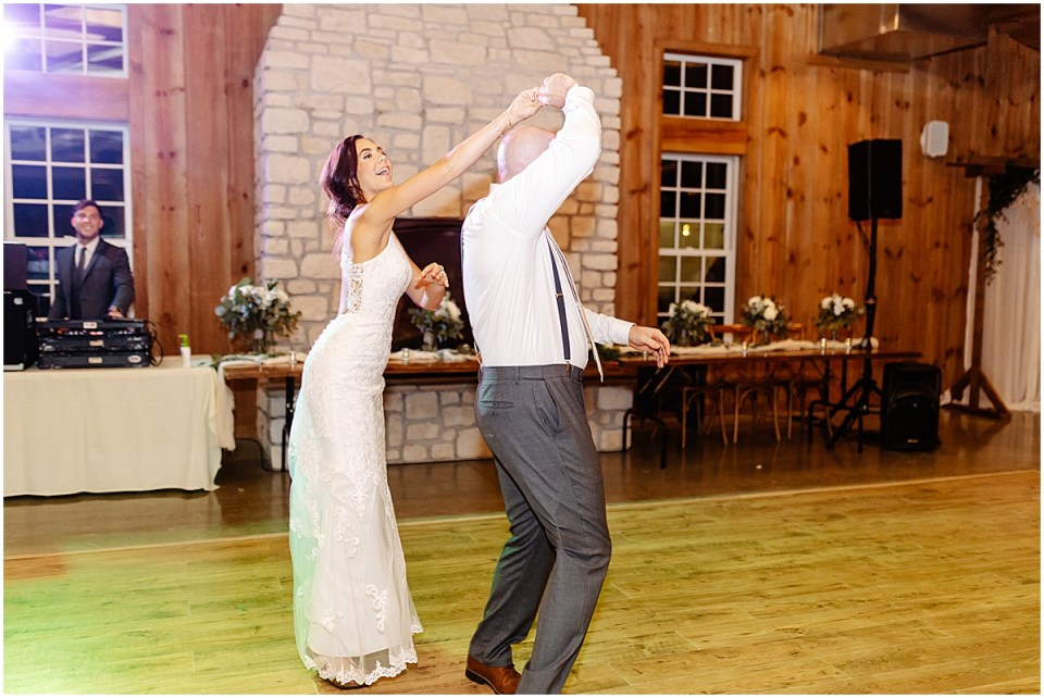 first dance inside Almquist Farm MN