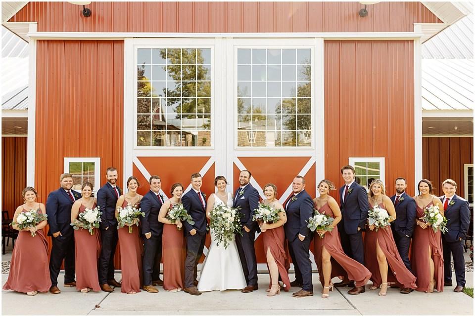 full bridal party at red barn farm