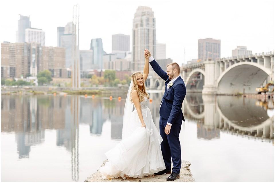 Minneapolis wedding portraits with city view