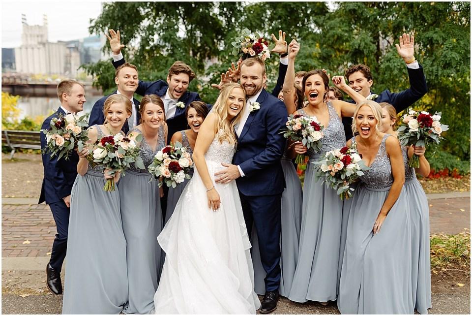 Joyful bridal party at The Grand 1858 Minneapolis