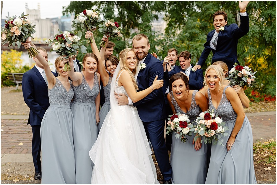 Fun bridal party at the grand 1858 Minneapolis