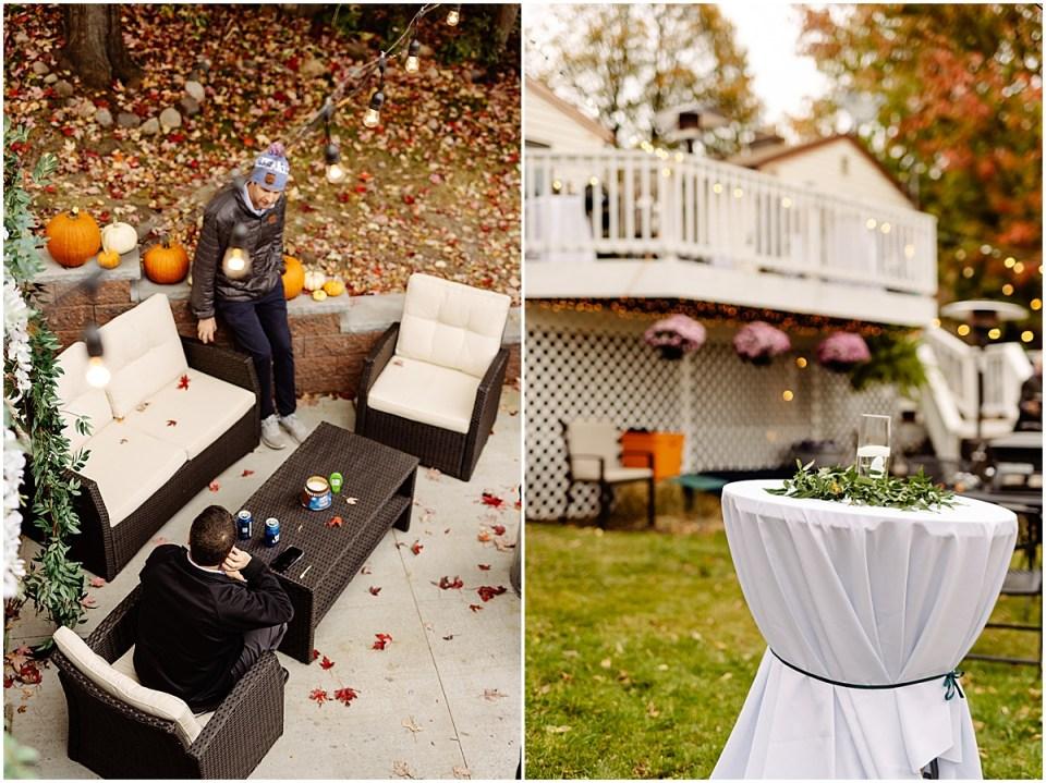 Backyard outside wedding details