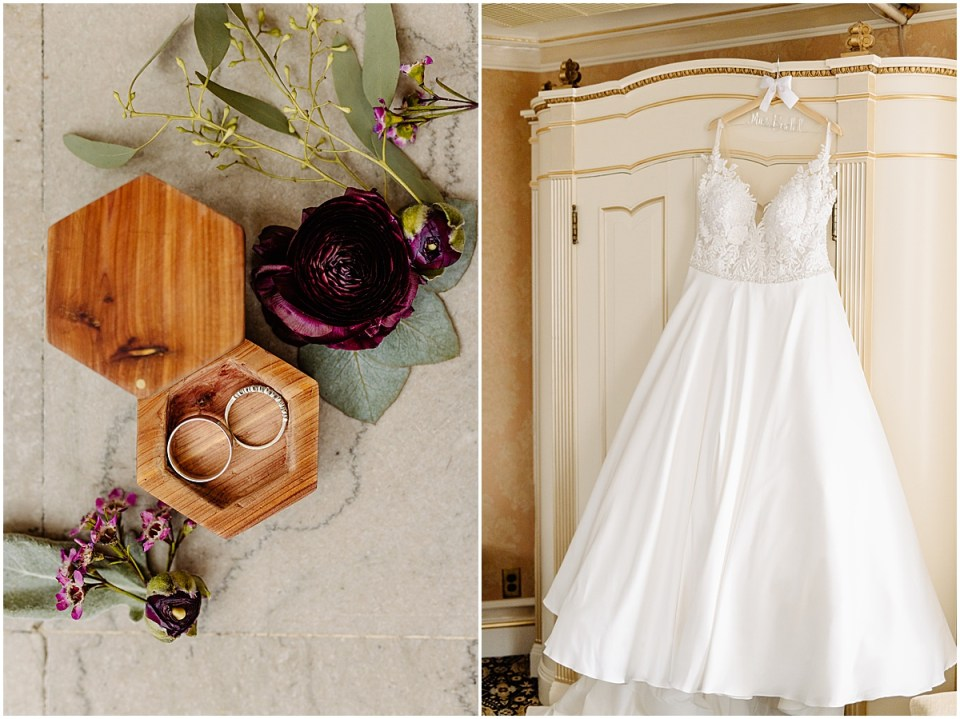 Wedding decor and details and brides dress