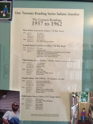"One side of a broadside presenting this list of readers in the Contact Poetry Reading Series on one side, and a poem by Souster (""Charles Olson at the Ford Hotel"") on the other. Text at the bottom: ""Information Courtesy of LETTERS BOOKSHOP."""