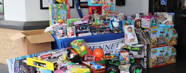 toys from Cameron Champ Foundation toy drive at Bennett's Kitchen Bar Market