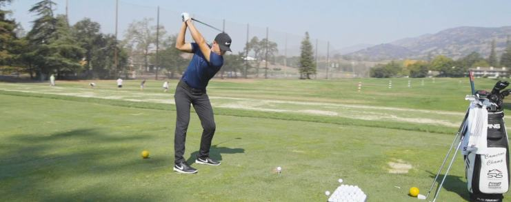 cameron champ on driving range at foundation golf classic - video still for homepage