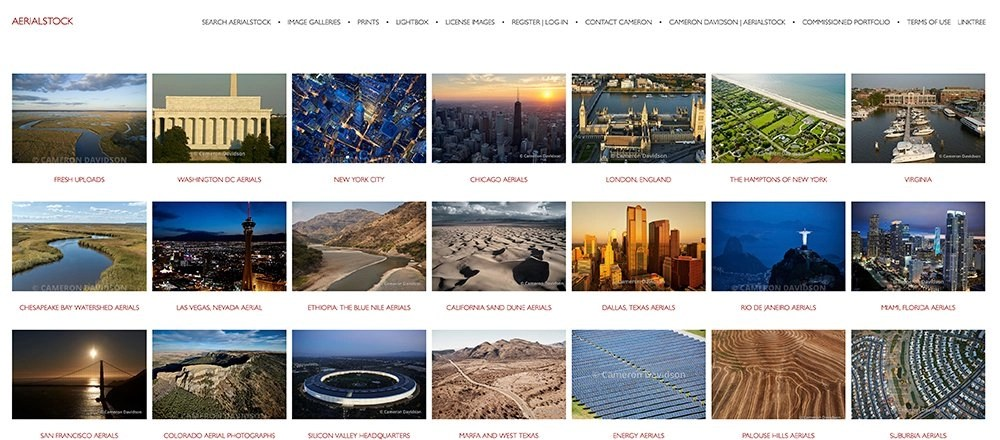Screen shot fo aerialstock.com web site