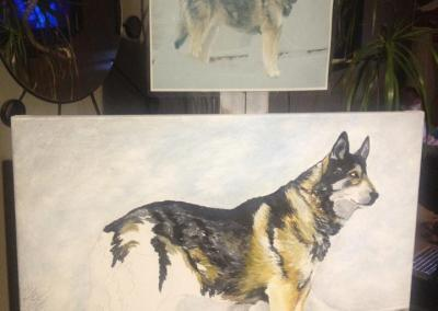 2012-10 - Commissioned Pet Portrait Painting - Rebel II with printout
