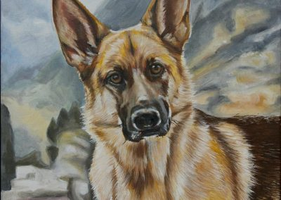 2014-12 - Commissioned Pet Portrail Painting - Lily GSD