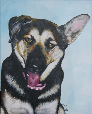 2009-12 – Commissioned Painting – Pet Portrait Painting by Cameron Dixon – Beans