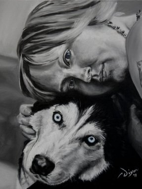 2011-03 – Commissioned Painting – Pet Portrait Painting by Cameron Dixon – Sarah and Maui