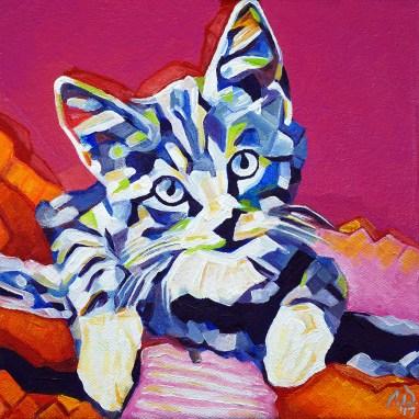 2017-04 – Original Painting by Cameron Dixon – Pop Art KITTEN 1