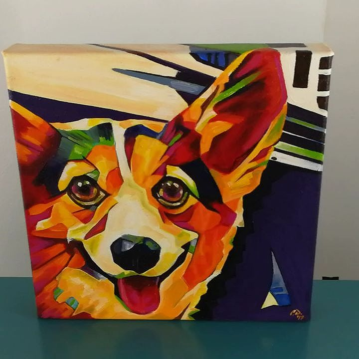 POP ART Corgi 12in x 12in x 1.375in + Black floater frame Prints and original will be available soon at: www.camerondixon.com Commissions Pricing: www.camerondixon.com/pricing Contact me: cameron@camerondixon.com