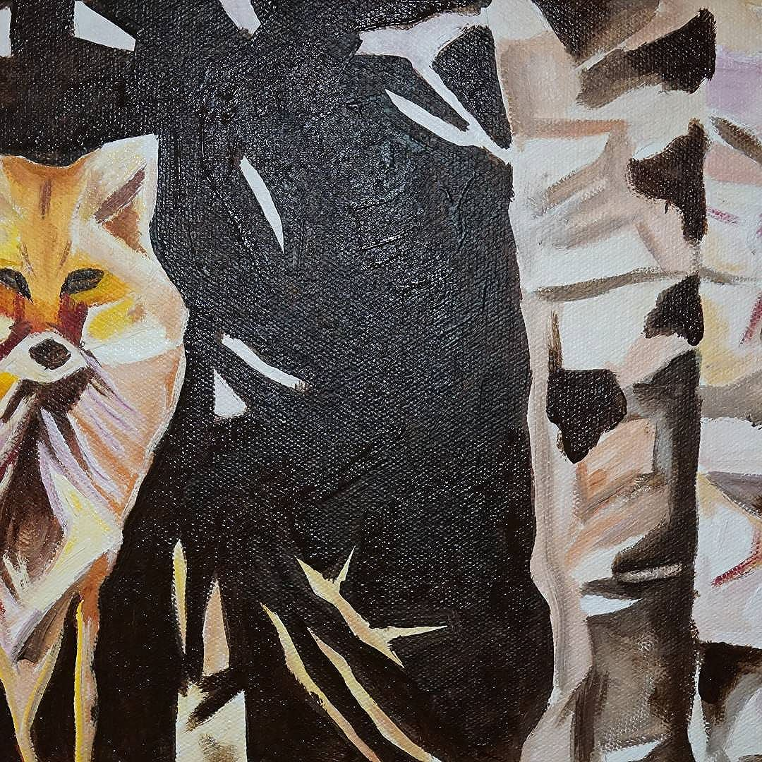 WIP Fox Sitting Near Birch 11in x 14in First layer of acrylic applied to canvas. www.camerondixon.com