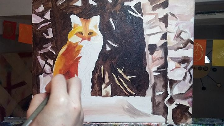 Time Lapse Fox Sitting Near Birch 11in x 14in  Oil on canvas. This painting will be available for purchase soon on  www.camerondixon.com