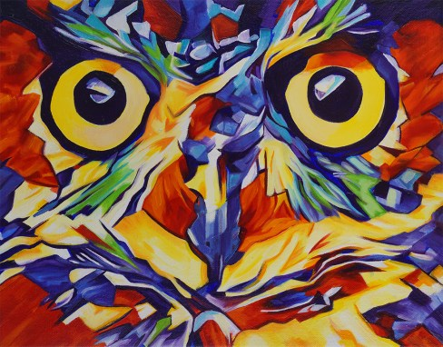 2017-12 – Original Painting by Cameron Dixon – Pop Art Owl Face-1