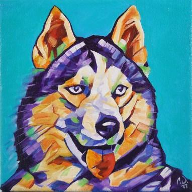 2017-11 – Original Painting by Cameron Dixon – Pop Art Husky