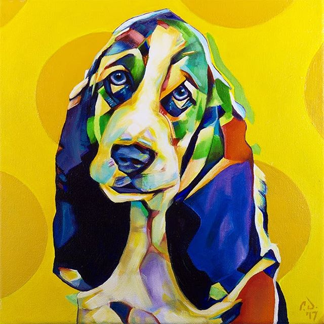 Pop Art Pet Portrait Bassett Hound Puppy 12in x 12in x 1.375in  Completed (rework) and is available for sale via my website: www.camerondixon.com