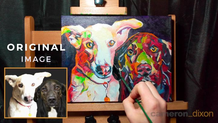 Pop Art Pet Portrait Timelapse Kona and Jade 11in x 14in x 1.375in  Order your painting today. Free shipping within North America. Links below or in profile. Currently taking orders for May 2021  A couple of dogs that I was able to meet through our dog daycare and pet services business in Trail, BC called Barks and Recreation. I needed to put two photos together as the owners have always had a hard time getting both the dogs to look at the camera in the same photo :).  I use high-quality heavyweight stretched canvases, and paint an acrylic base coat, then cover with oil-based paint. This is my evening job after working at our pet retail and services business located in a small town in the Kootenays, BC, Canada  My Website: www.camerondixon.com  Pricing: www.camerondixon.com/pricing  Purchase my work on my Etsy: www.etsy.com/shop/CameronDixonsArt  Follow me on Instagram: https://www.instagram.com/cameron_dixons_art/  Follow me on Facebook: https://www.facebook.com/cameron.dixon.art