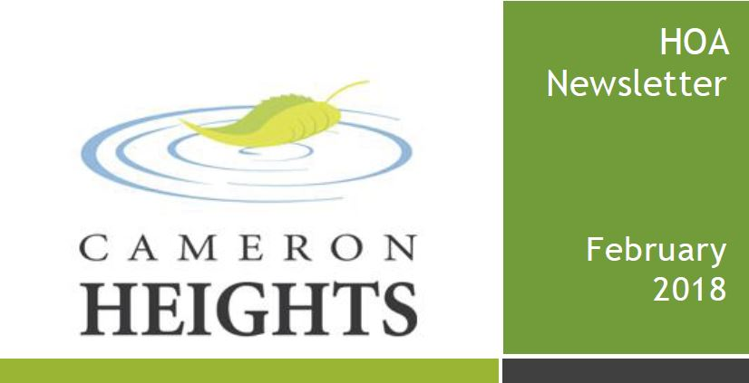 Cameron Heights Home Owners Association - Newsletter