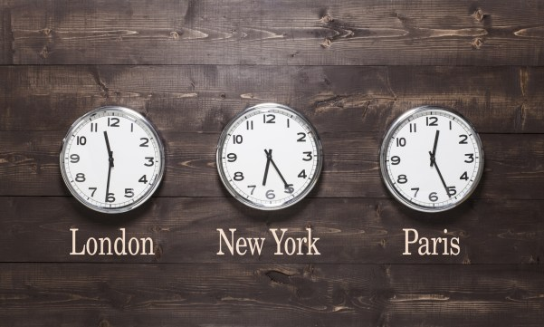 Cameron Patterson & Co Business Accountant - Three wall clocks on different time zones