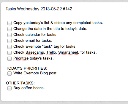 evernote task list with check boxes
