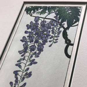 handmade print of flowering wisteria after Koson featuring purple wisteria flower hanging from branch against pale blue background