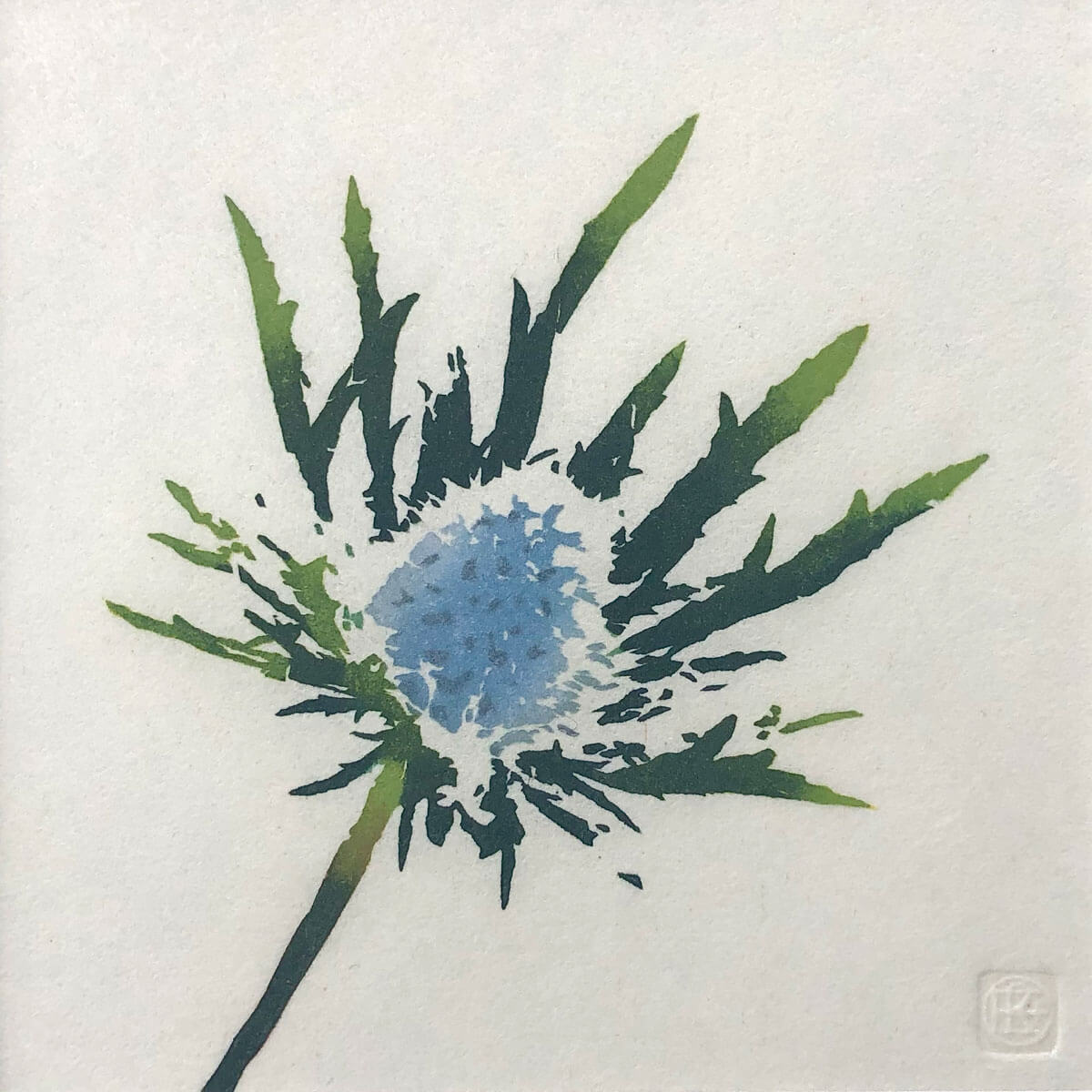 Eryngium woodblock print by Claire Cameron-Smith